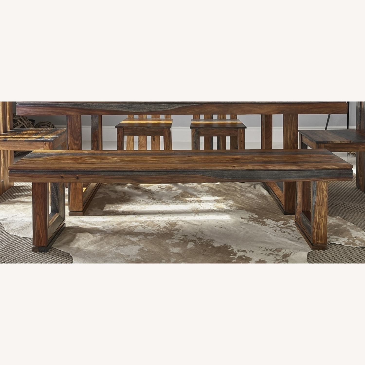 Rustic Bench Finished In Grey Sheesham - image-1