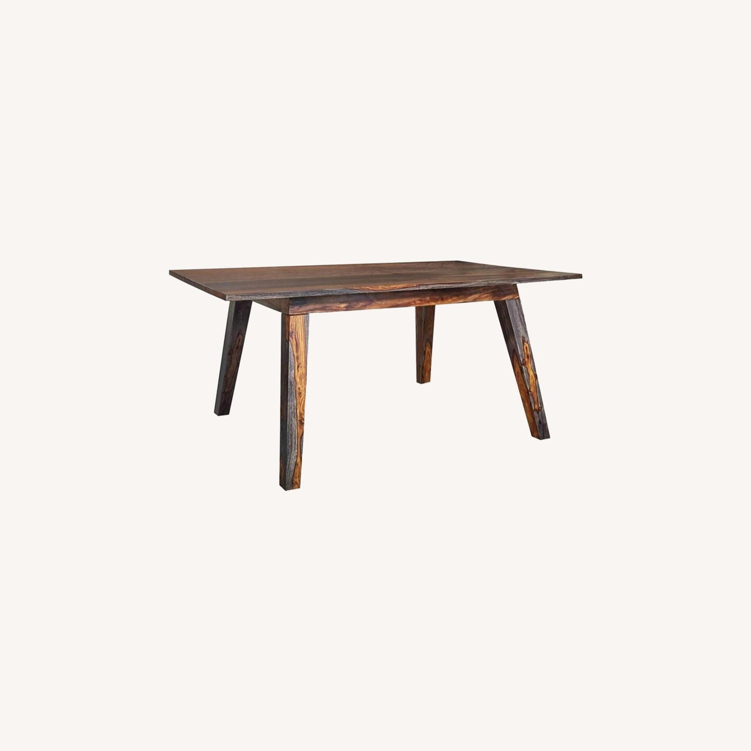 Dining Table Crafted In Grey W/ White Wood Grain - image-3