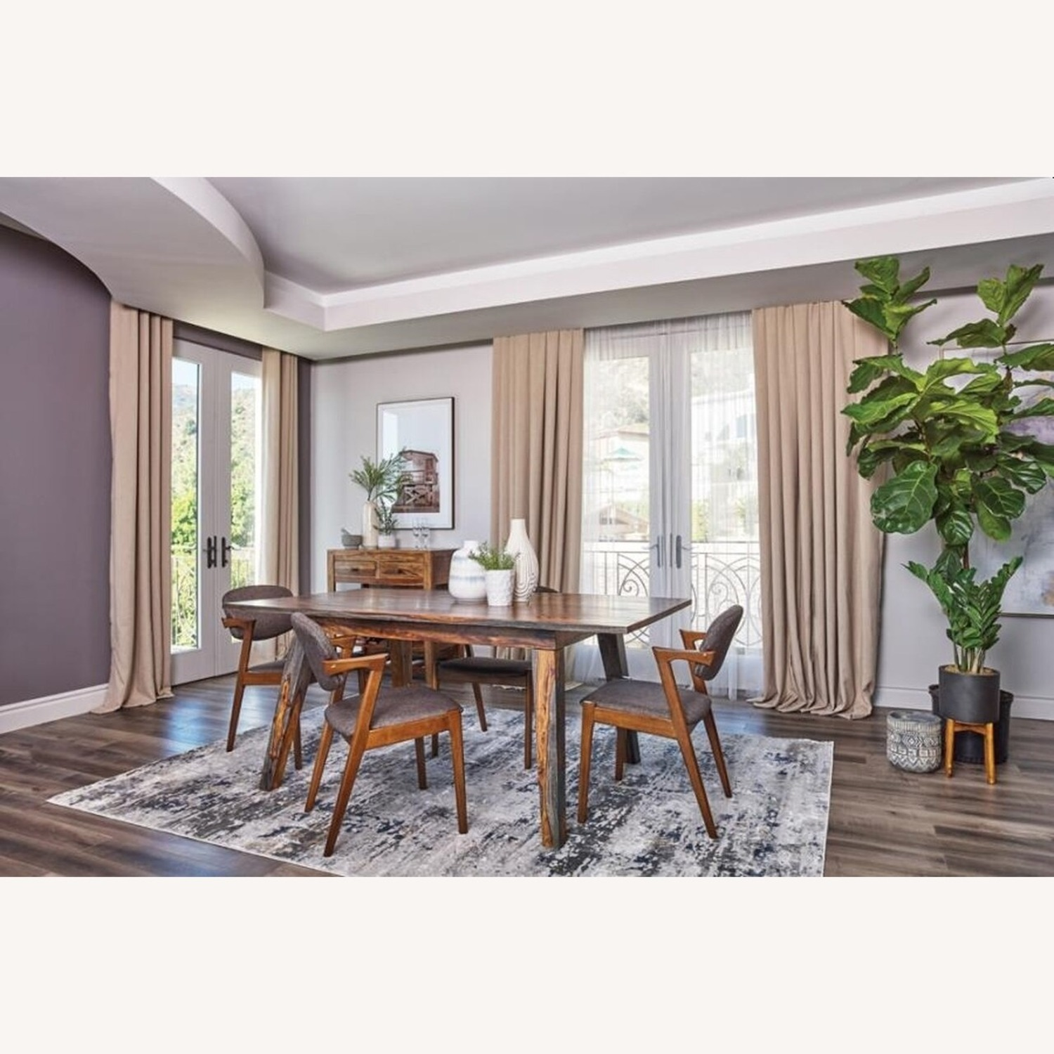 Dining Table Crafted In Grey W/ White Wood Grain - image-2