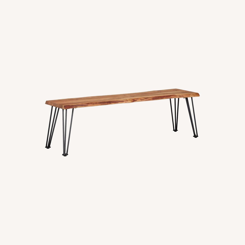 Modern Bench In Natural Acacia W/ Metal Legs - image-4