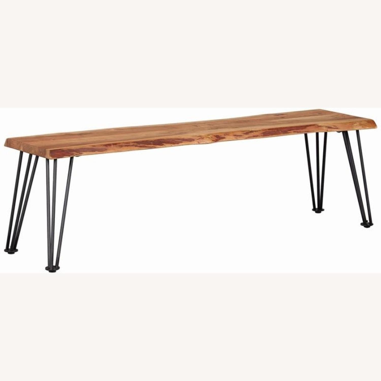 Modern Bench In Natural Acacia W/ Metal Legs - image-0