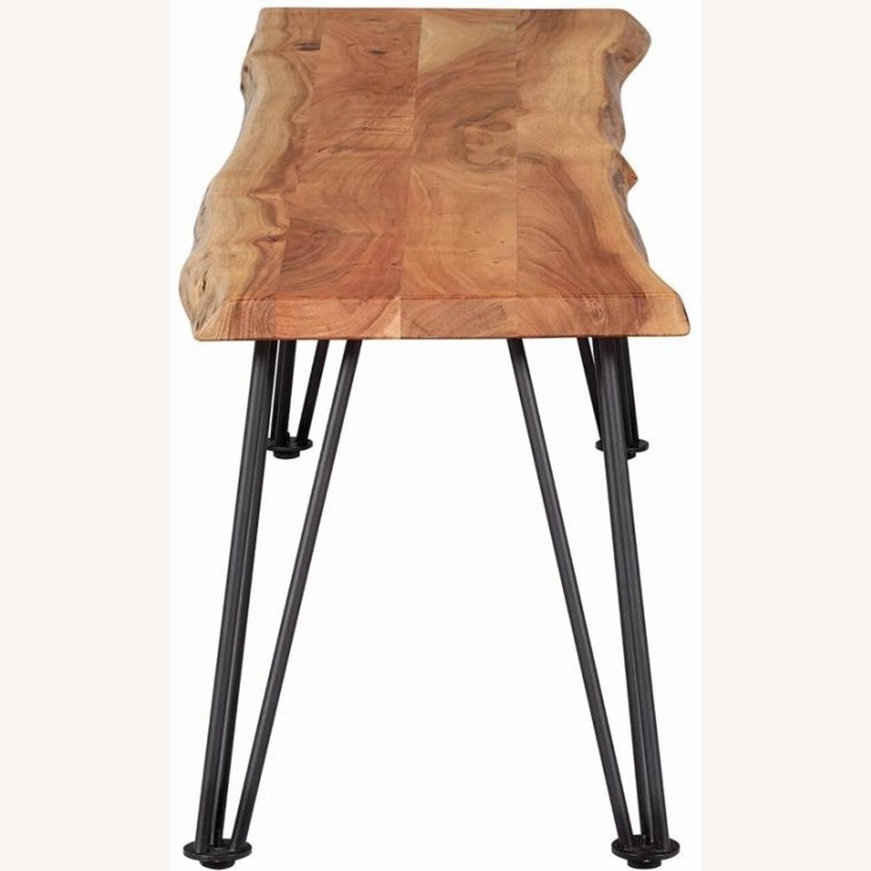 Modern Bench In Natural Acacia W/ Metal Legs - image-2