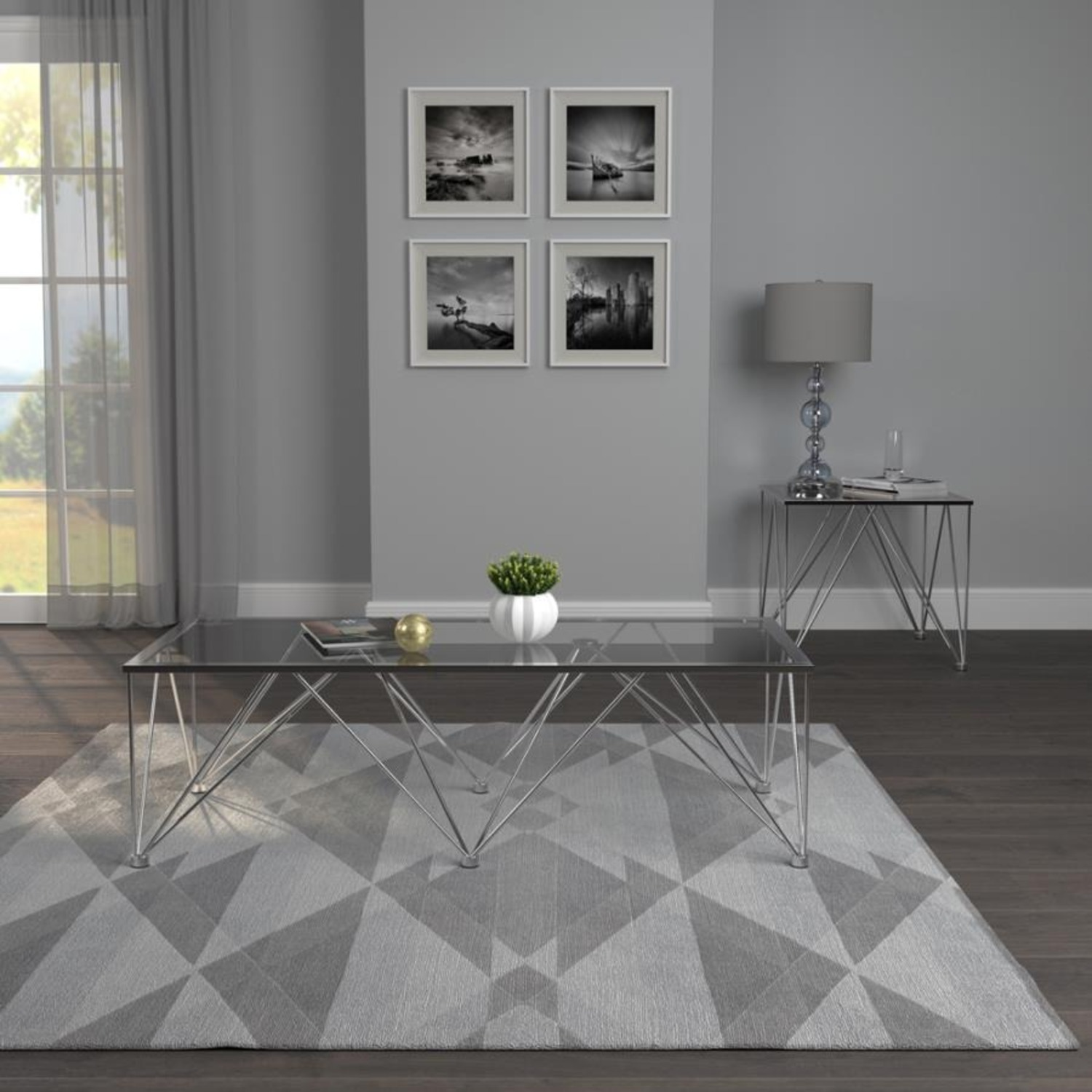 Modern Square Coffee Table In Grey Glass Top - image-2