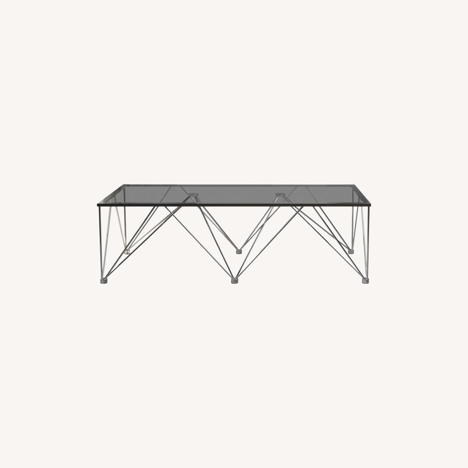 Modern Square Coffee Table In Grey Glass Top - image-3