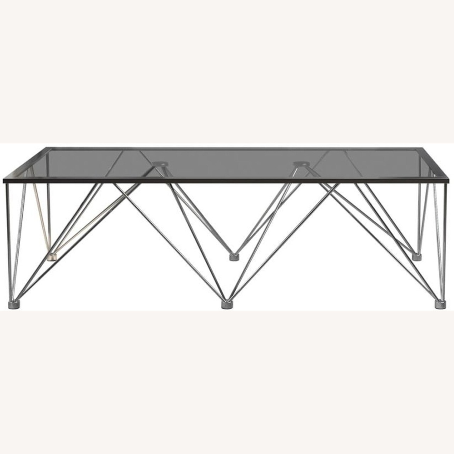 Modern Square Coffee Table In Grey Glass Top - image-1