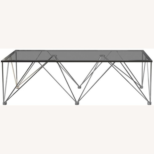 Used Modern Square Coffee Table In Grey Glass Top for sale on AptDeco
