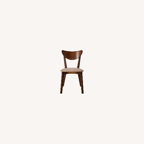 Used Mid Century Side Chair Upholstered In Tan Fabric for sale on AptDeco