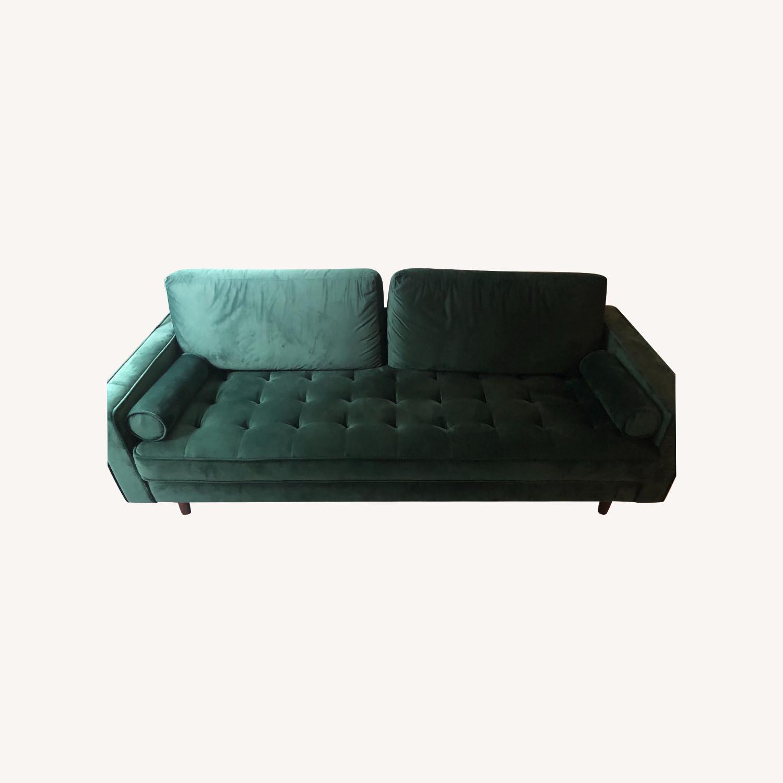 Allmodern Forest Green Velvet Sofa Aptdeco