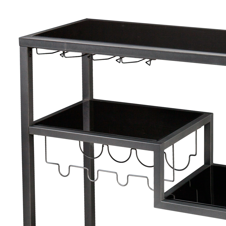 Mercury Row Grey/Black Aguila Bar Cart - image-2