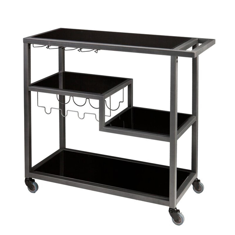 Mercury Row Grey/Black Aguila Bar Cart - image-1