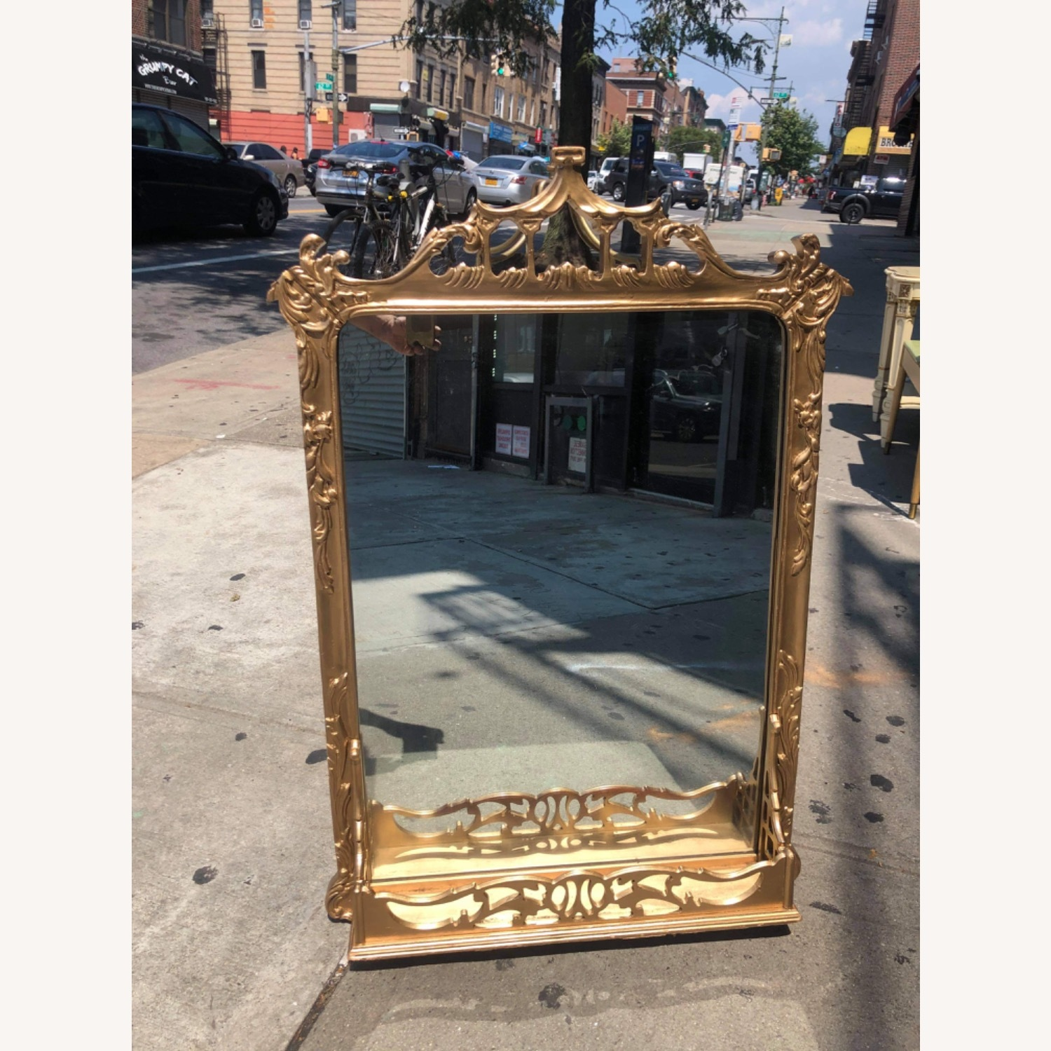 Antique 1900s Gold Painted Wooden Fram ed Mirror - image-2
