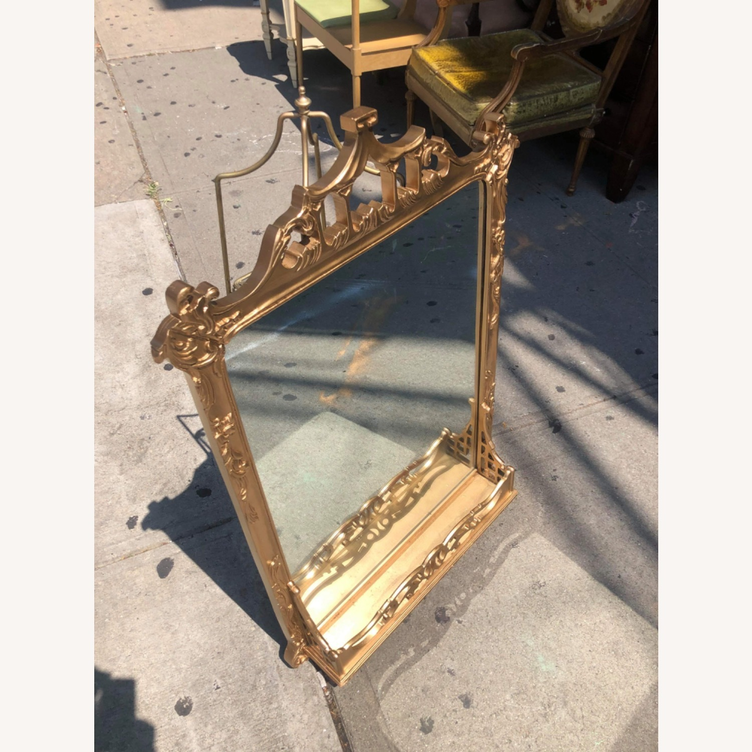 Antique 1900s Gold Painted Wooden Fram ed Mirror - image-3