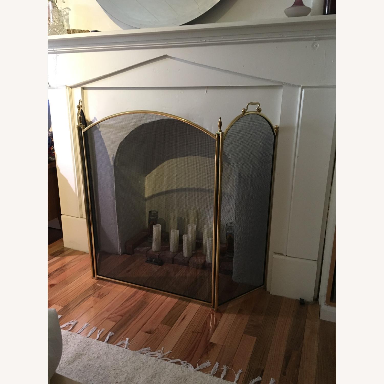 Vintage Brass Fireplace Screen - image-1