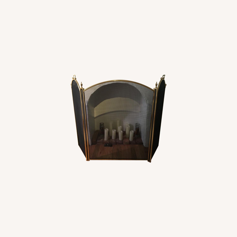 Vintage Brass Fireplace Screen - image-0
