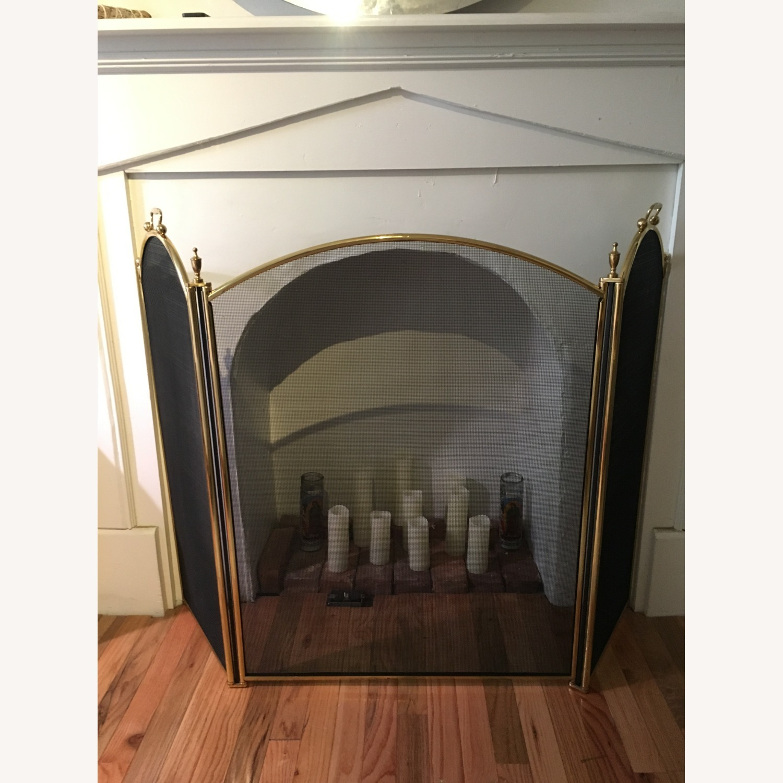 Vintage Brass Fireplace Screen - image-2