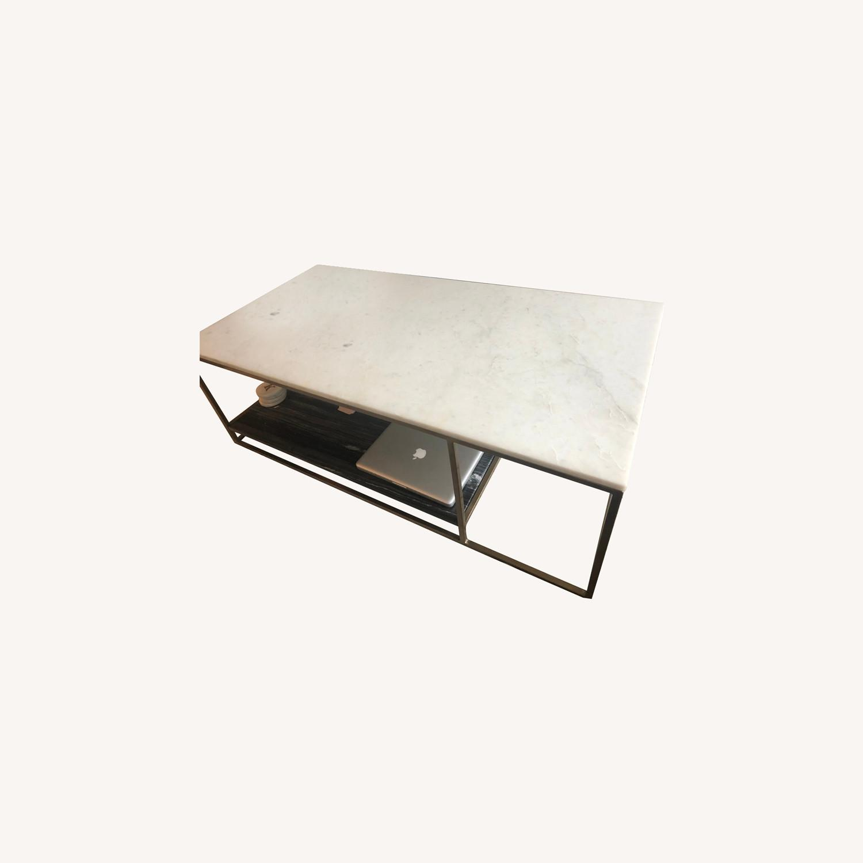 Cb2 Coffee Table Marble White And Black Aptdeco