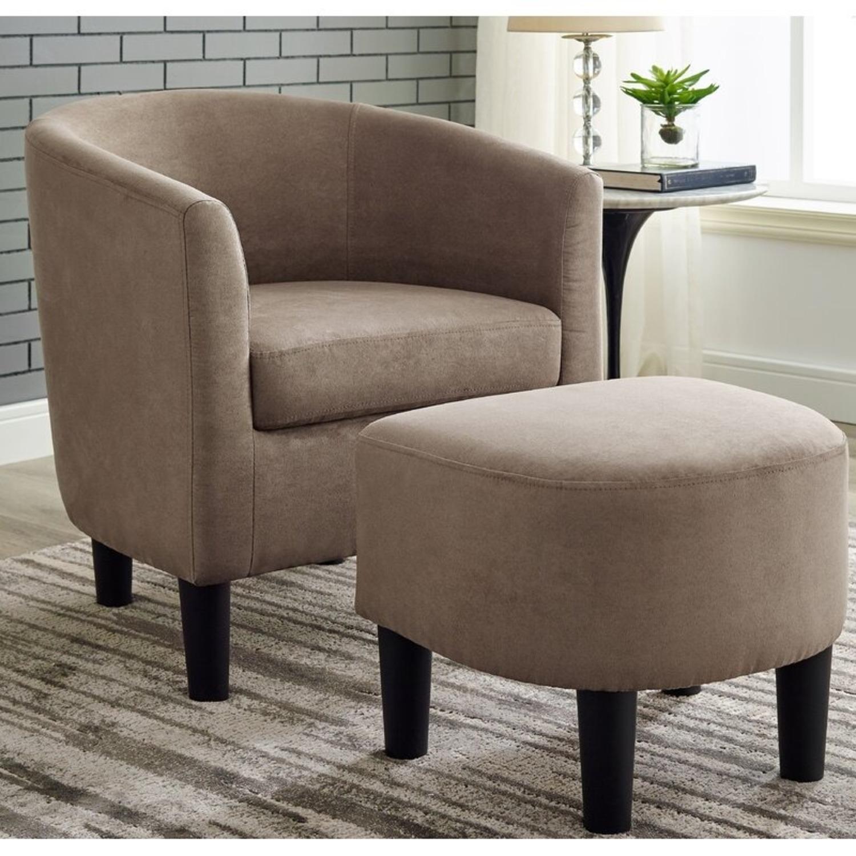 Wayfair Light Brown Barrel Chair and Ottoman - image-0