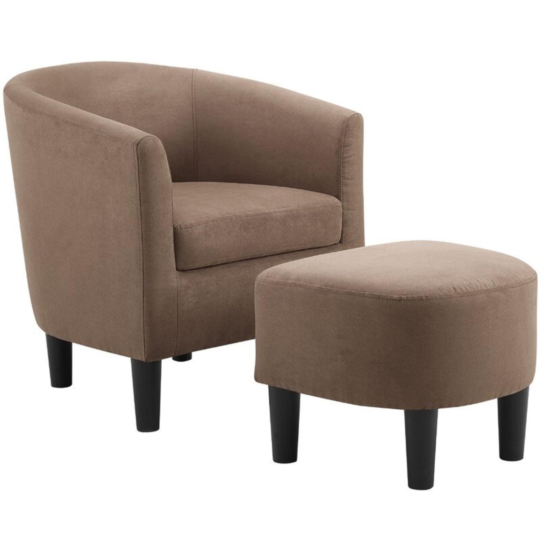 Wayfair Light Brown Barrel Chair and Ottoman - image-2