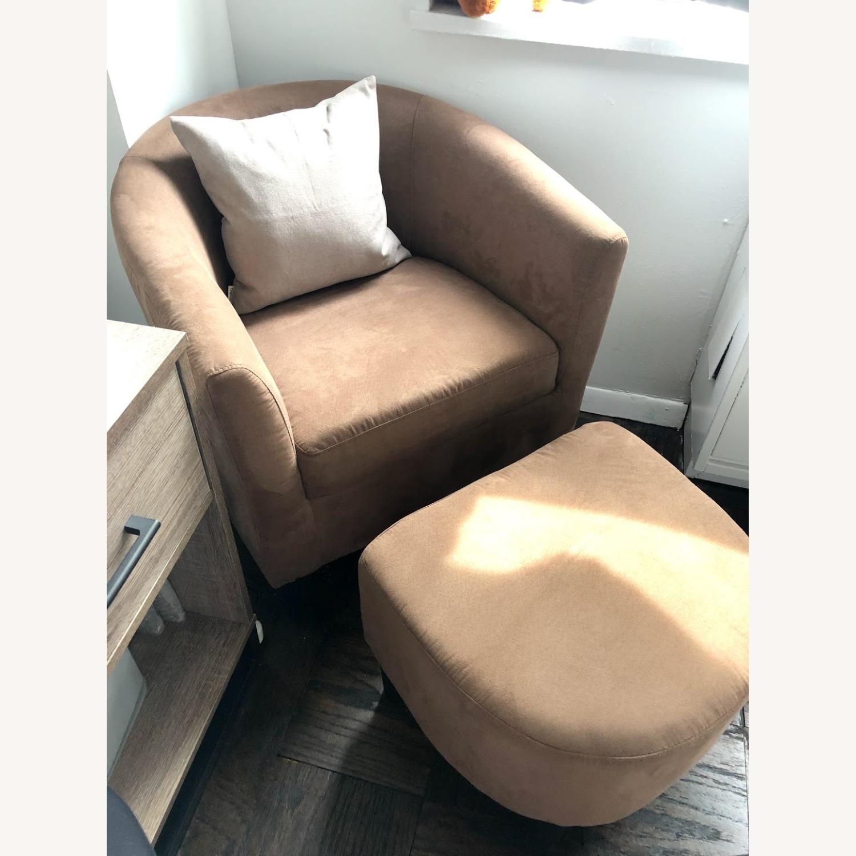 Wayfair Light Brown Barrel Chair and Ottoman - image-1