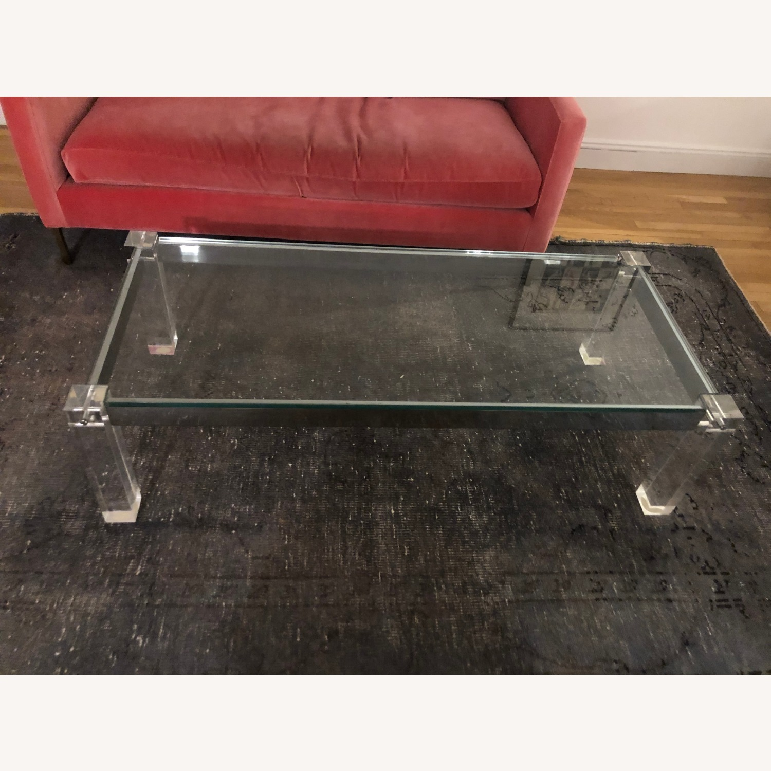 Vintage Glass Top and Lucite Legs Coffee Table - image-0