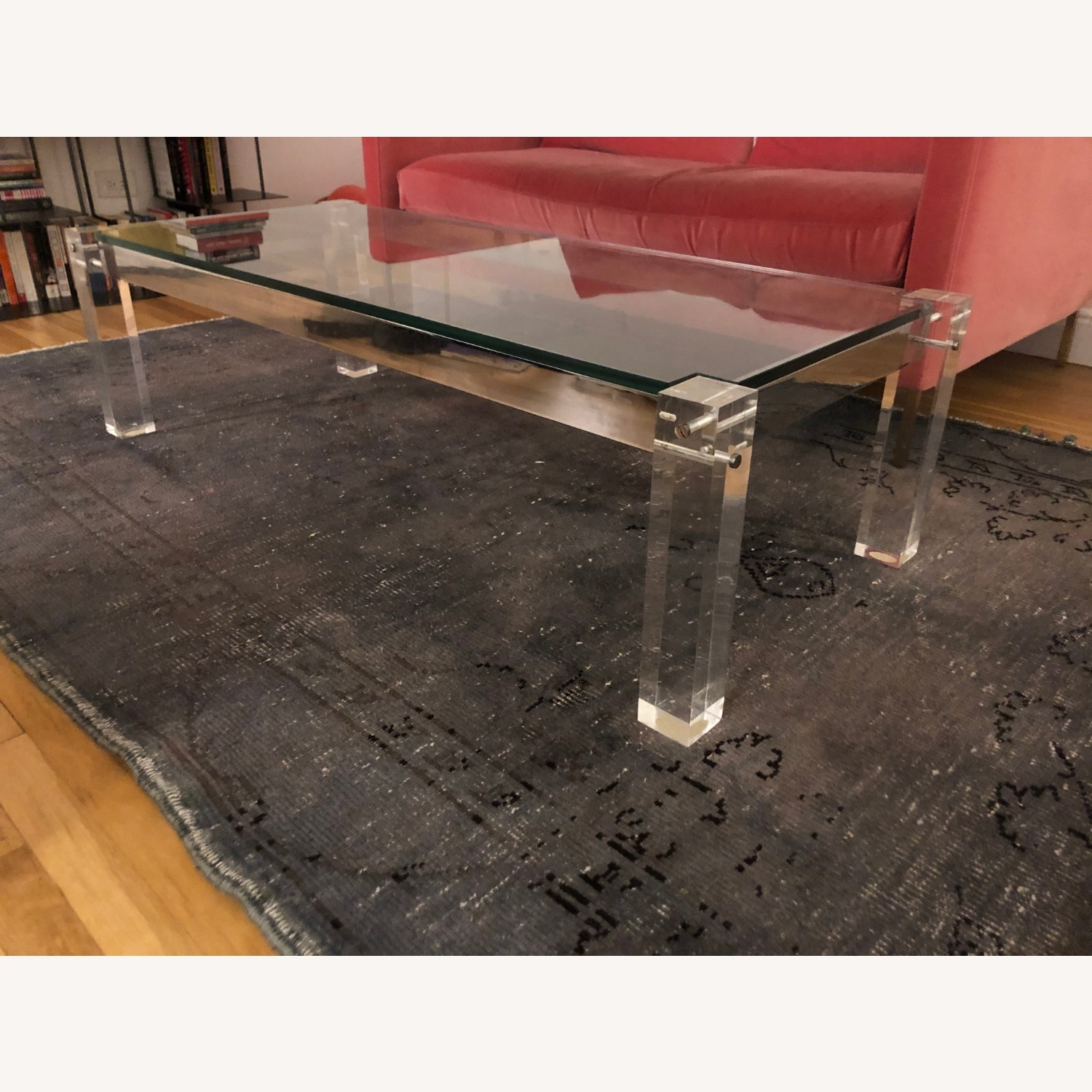 Vintage Glass Top and Lucite Legs Coffee Table - image-1