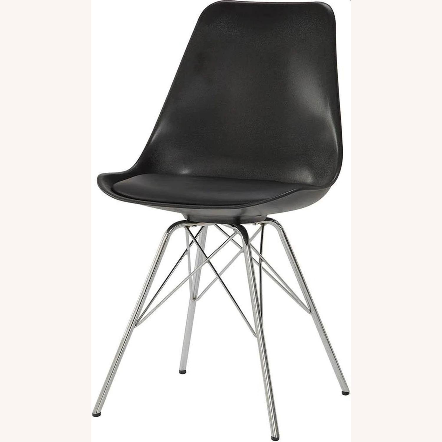 Modern Black Side Chair W Padded Cushion - image-0
