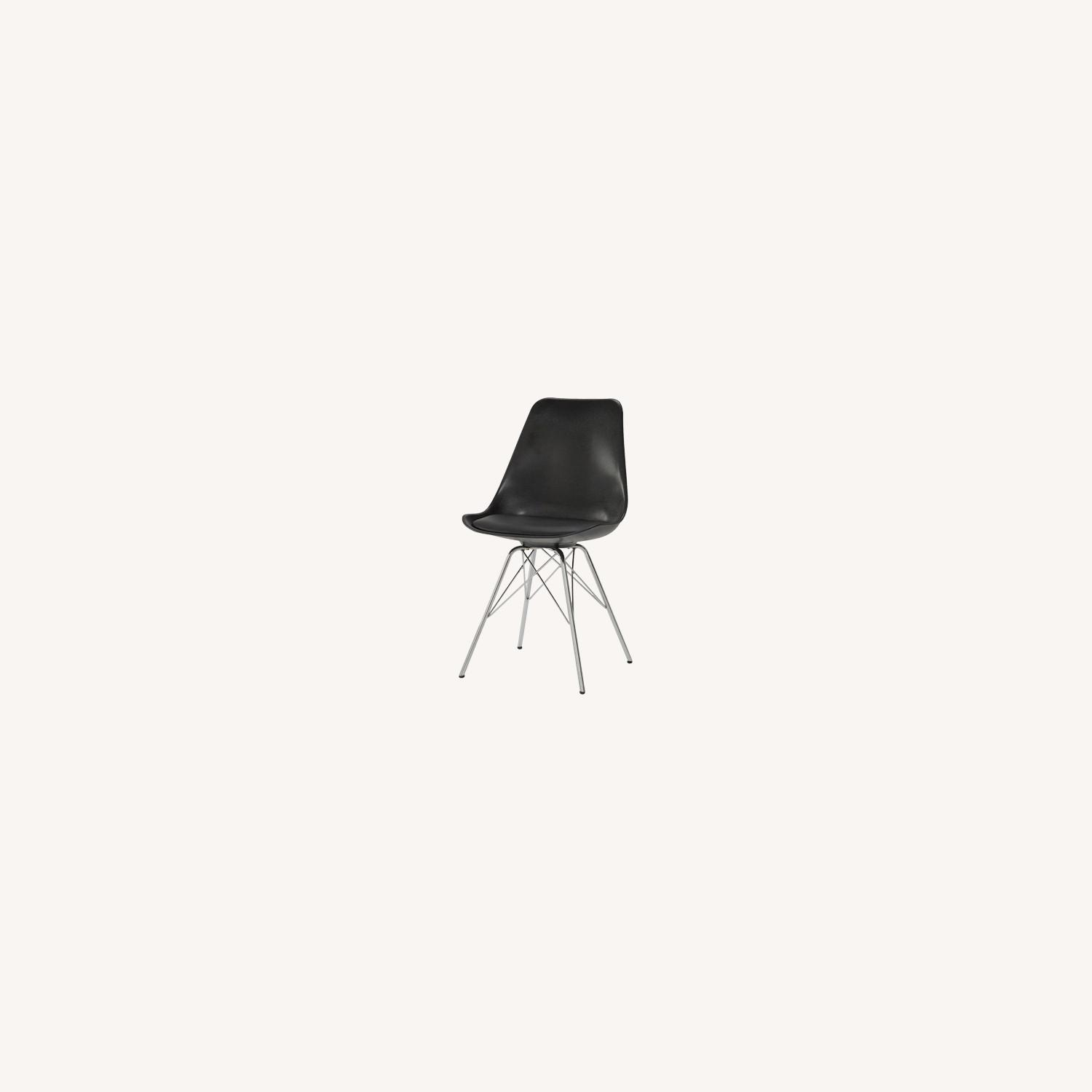 Modern Black Side Chair W Padded Cushion - image-5