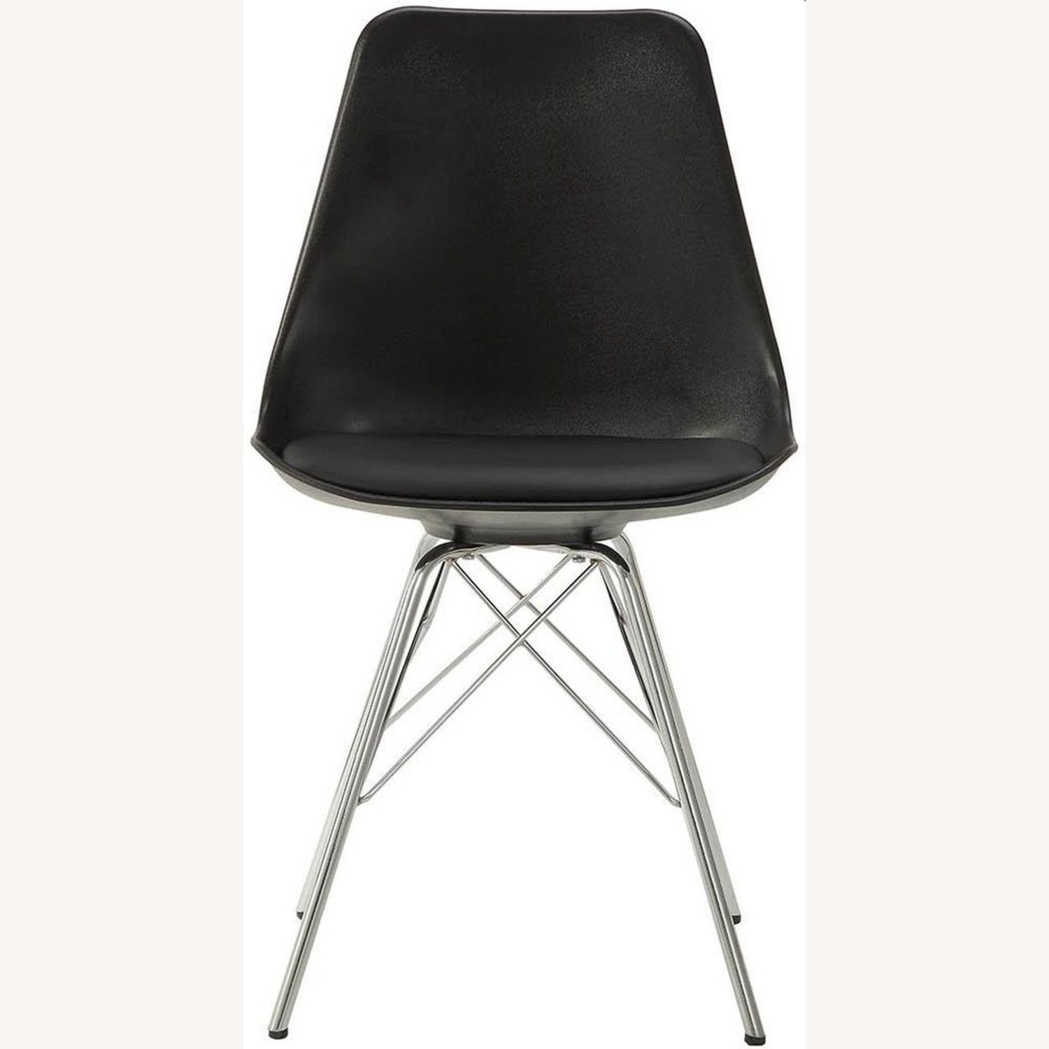 Modern Black Side Chair W Padded Cushion - image-1