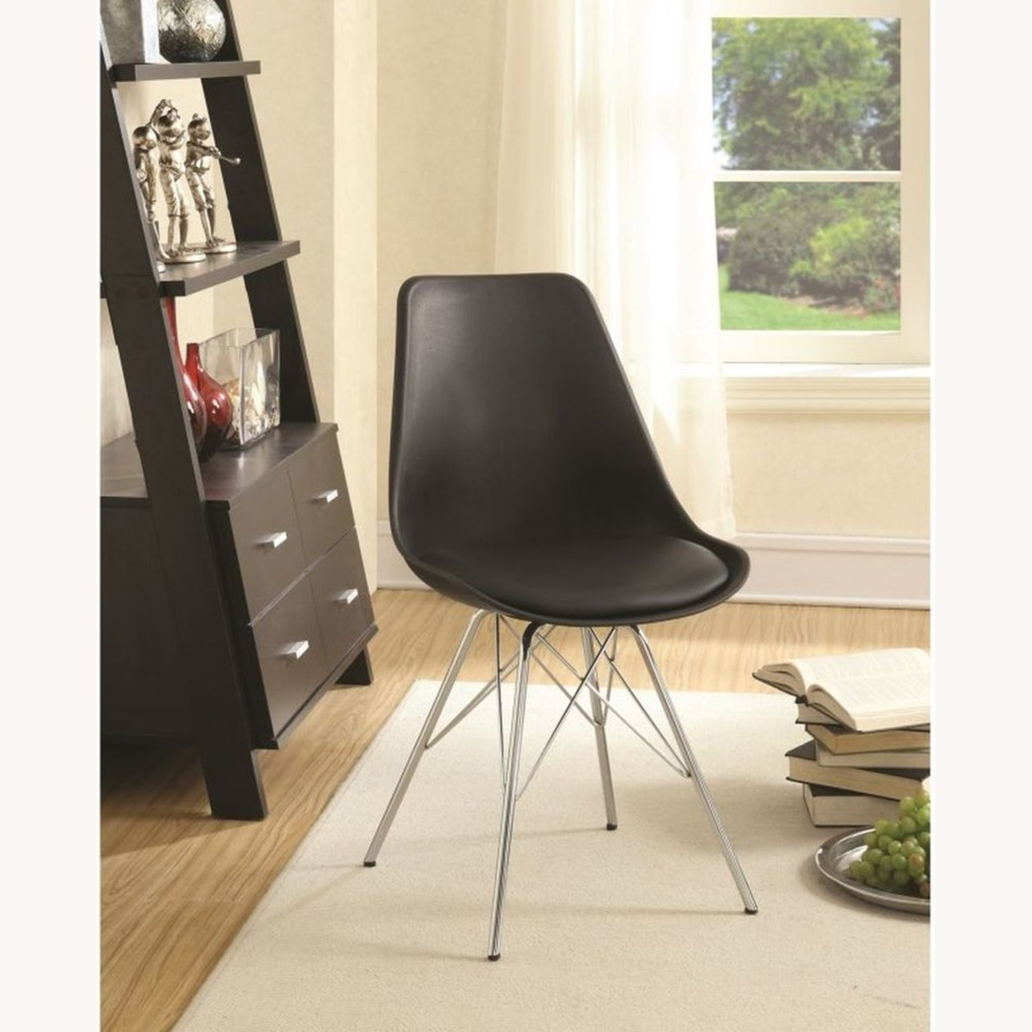 Modern Black Side Chair W Padded Cushion - image-4