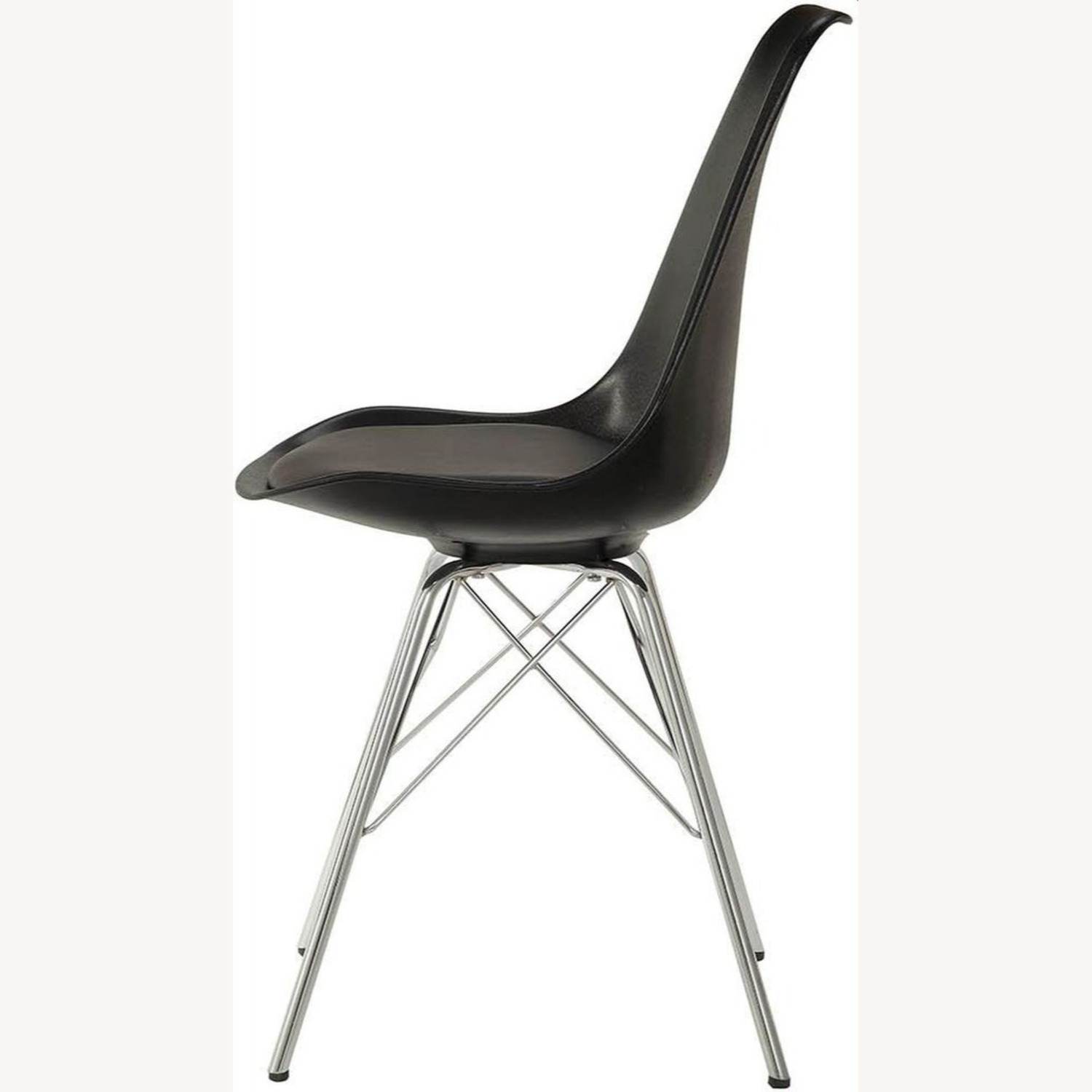 Modern Black Side Chair W Padded Cushion - image-3