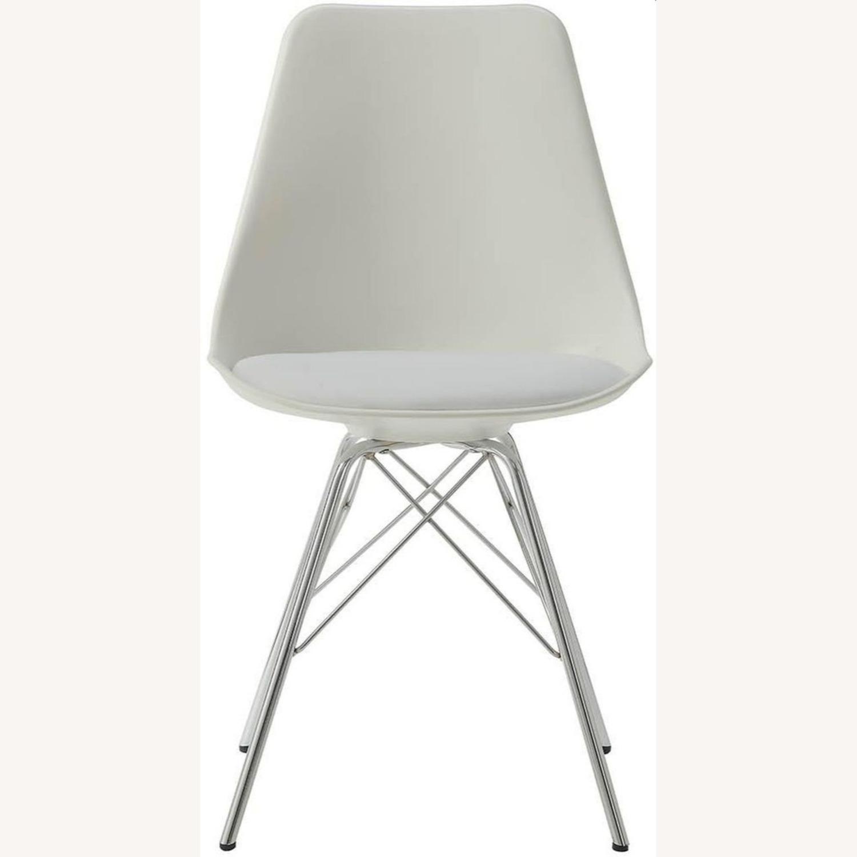 Modern White Side Chair W Padded Cushion - image-1