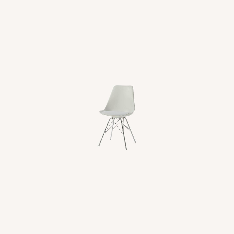 Modern White Side Chair W Padded Cushion - image-5