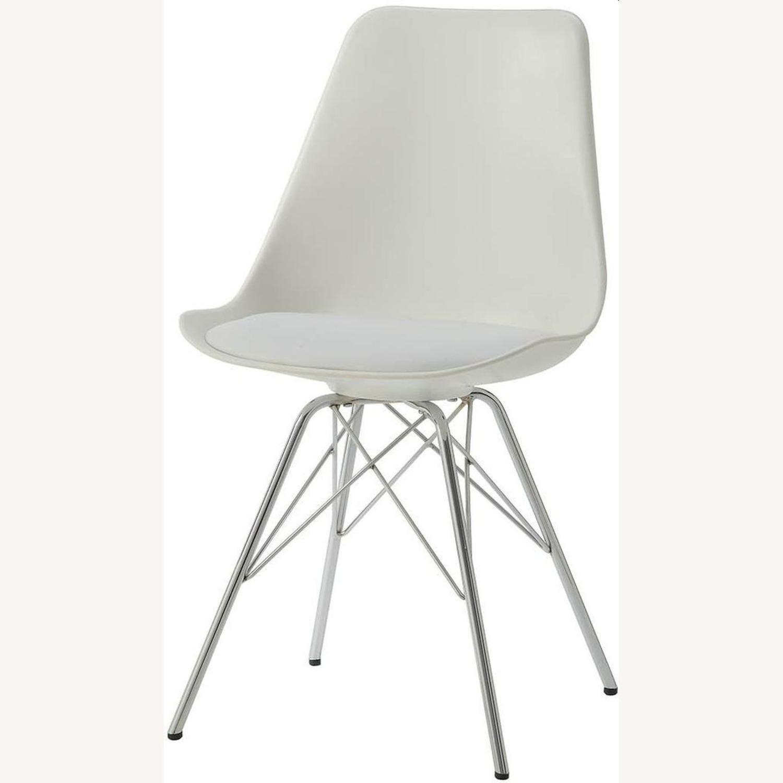 Modern White Side Chair W Padded Cushion - image-0