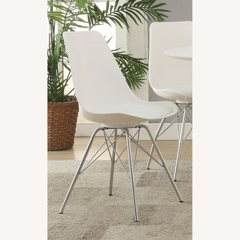 Modern White Side Chair W Padded Cushion - image-4