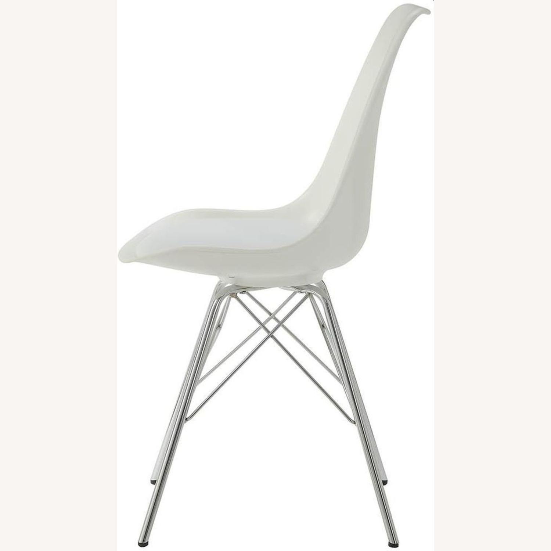 Modern White Side Chair W Padded Cushion - image-2