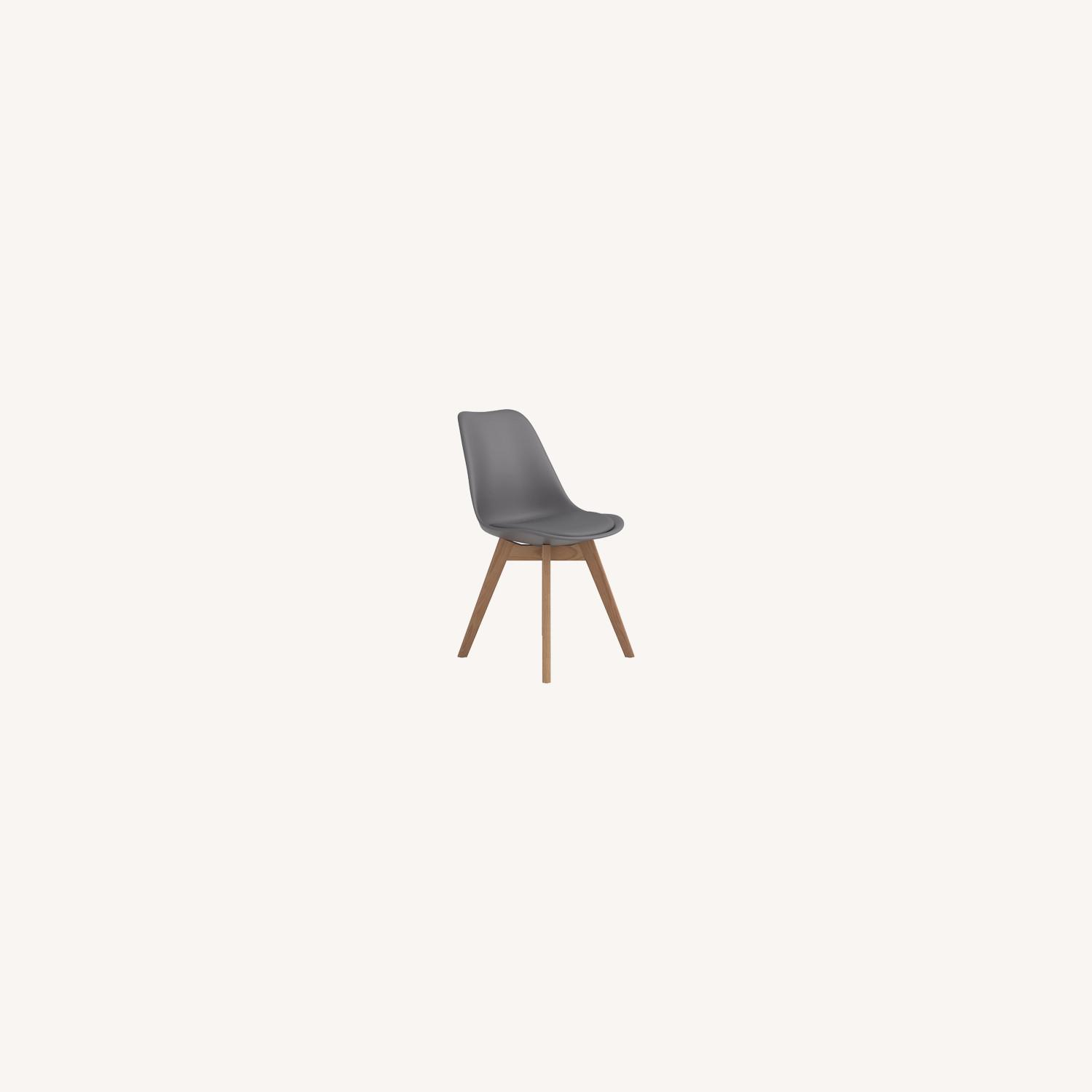 Modern Side Chair In Grey Leatherette - image-4