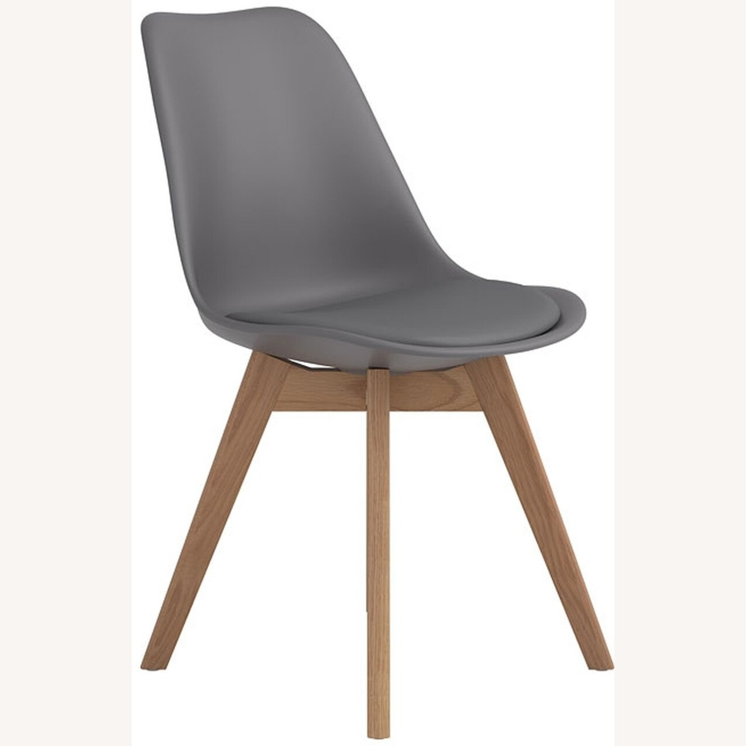 Modern Side Chair In Grey Leatherette - image-0