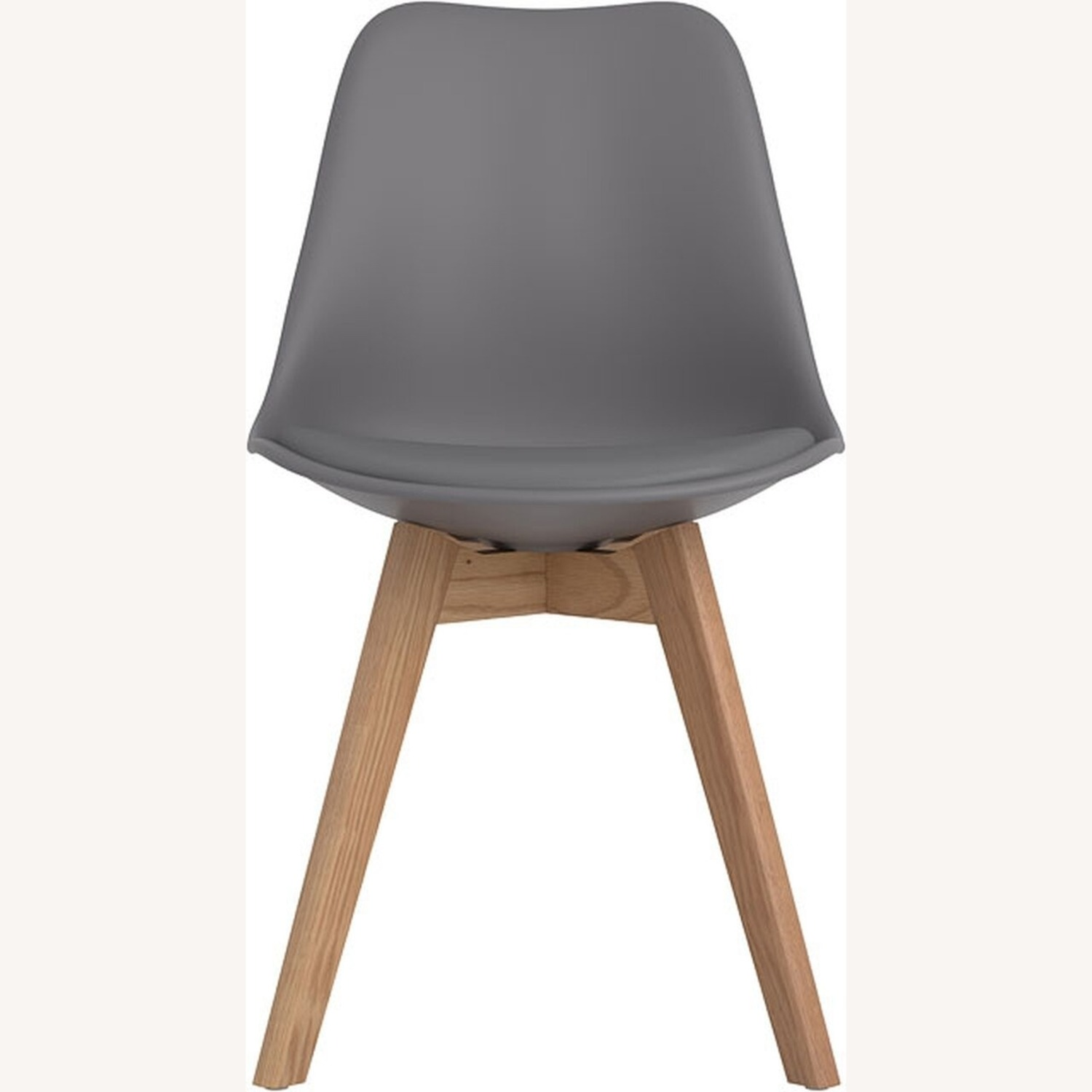 Modern Side Chair In Grey Leatherette - image-1