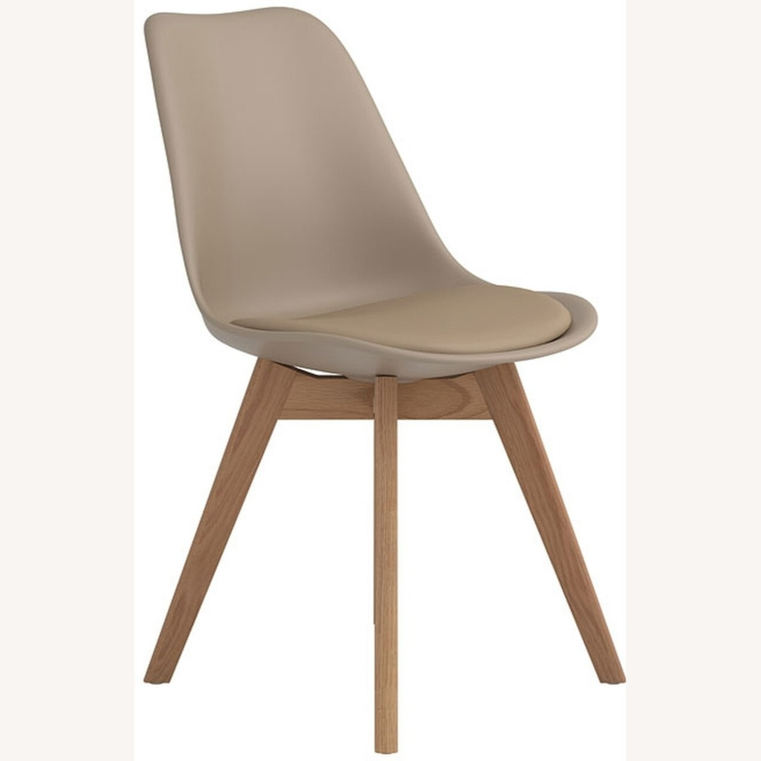 Modern Side Chair In Tan Leatherette - image-0