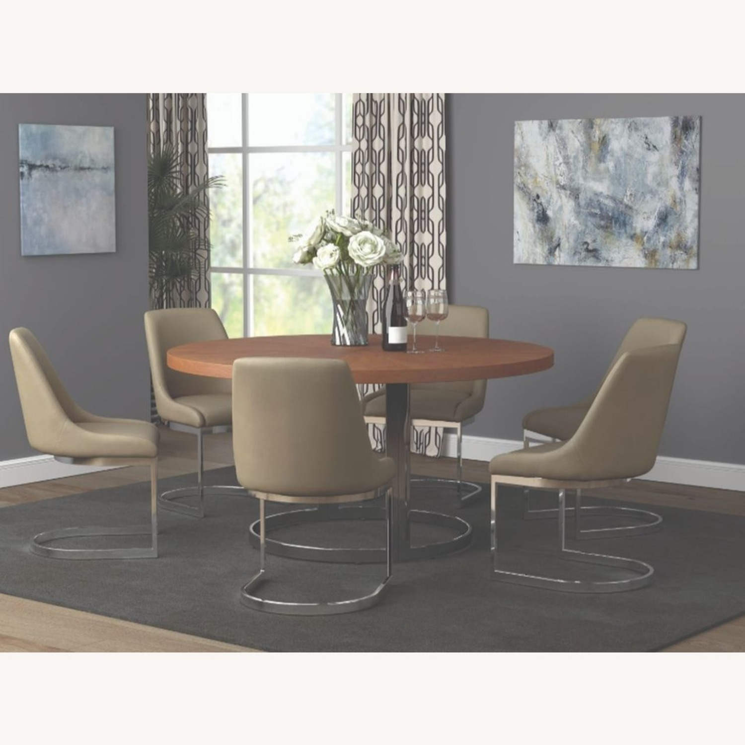 Side Chair In Taupe Leatherette - image-3