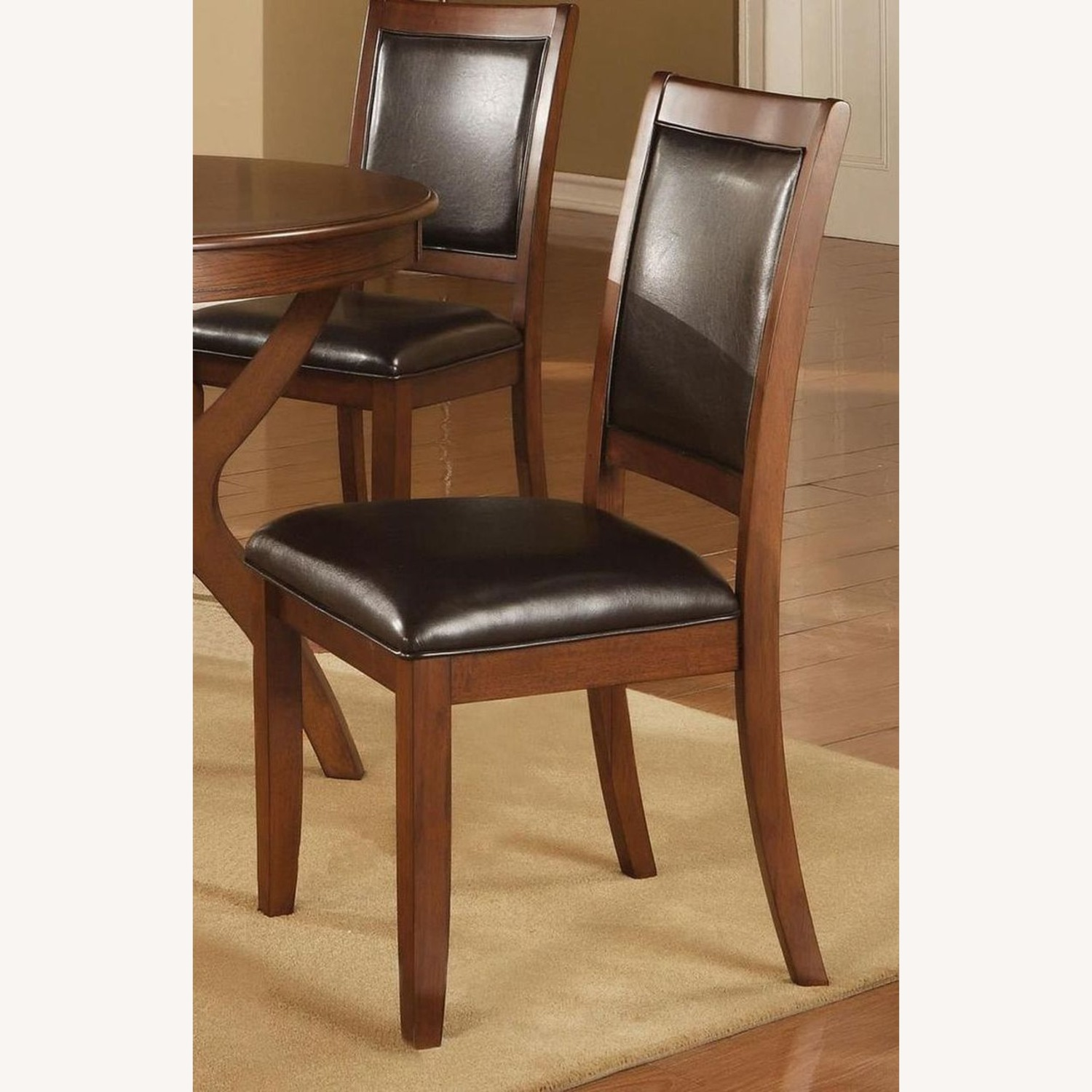 Transitional Side Chair In Black Faux Leather - image-2