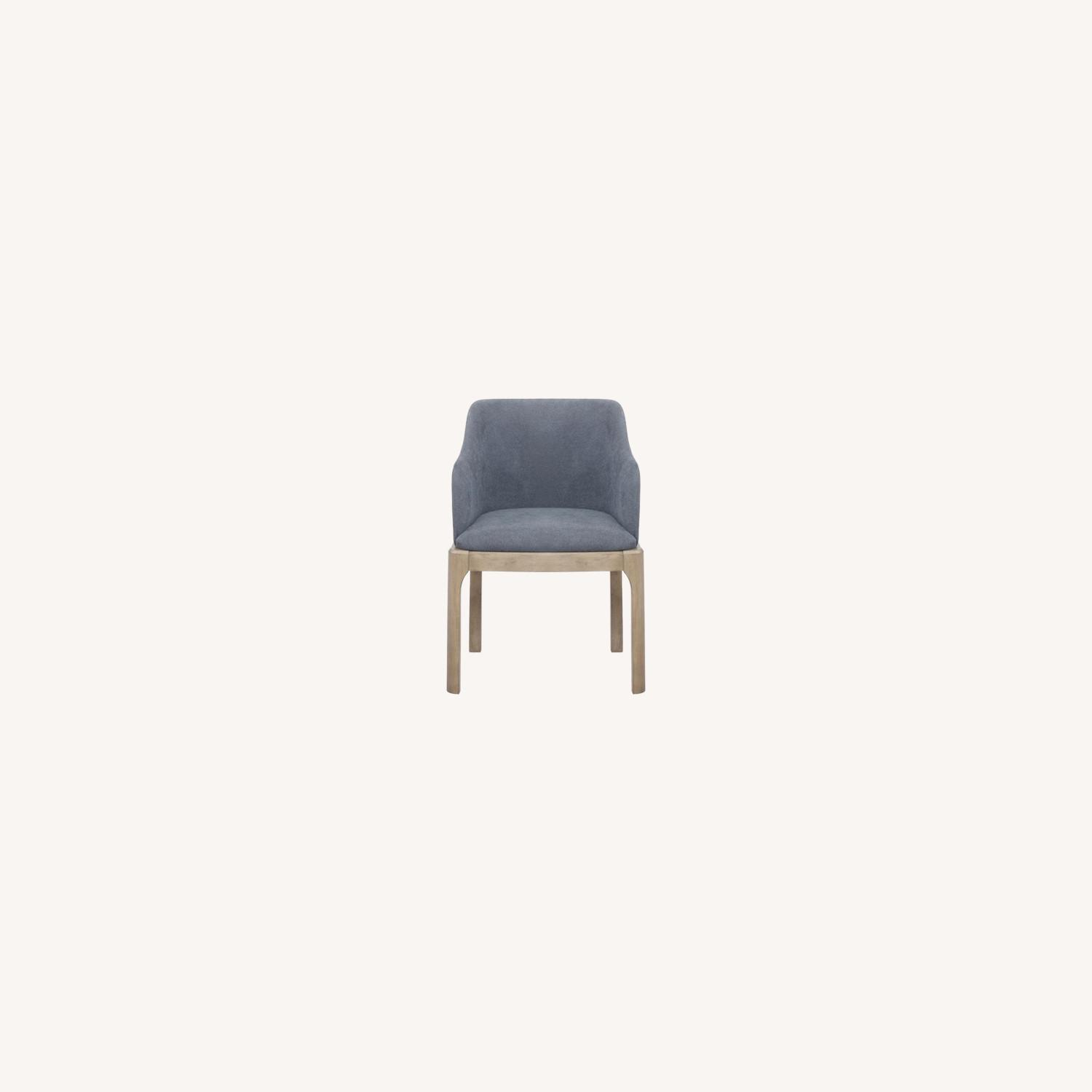 Modern Danish Style Arm Chair In Denim Blue - image-4