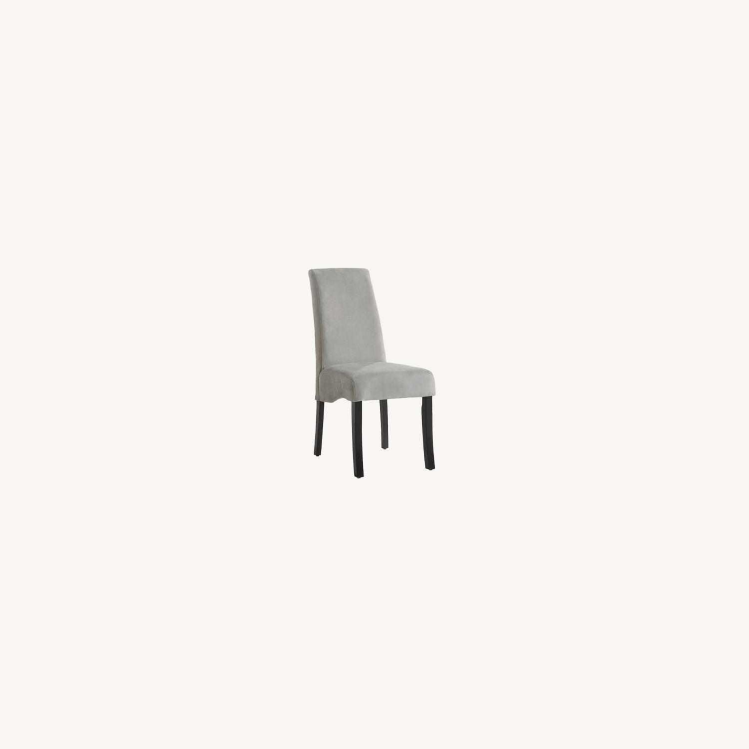 Elegant Side Chair In A Grey Fabric W Flared Back - image-4