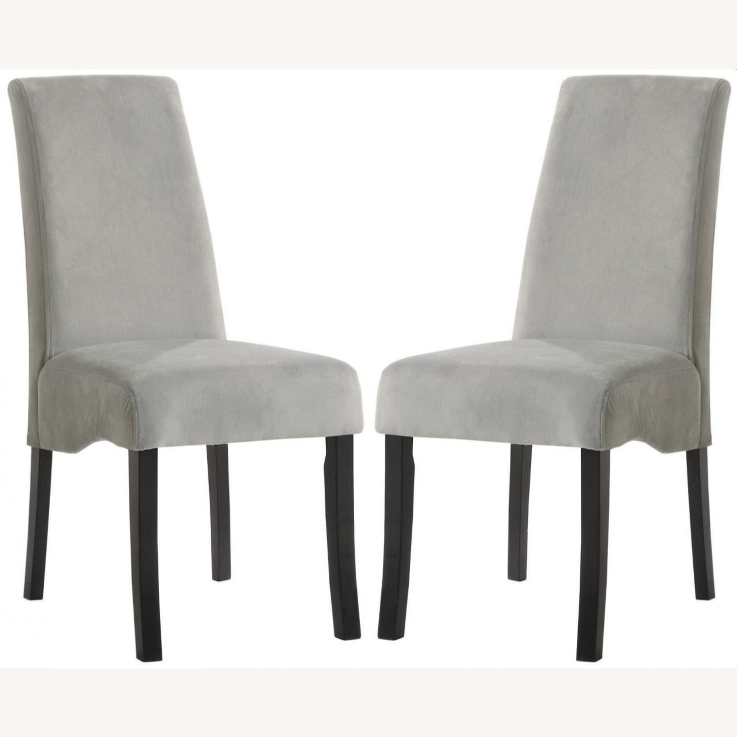 Elegant Side Chair In A Grey Fabric W Flared Back - image-1