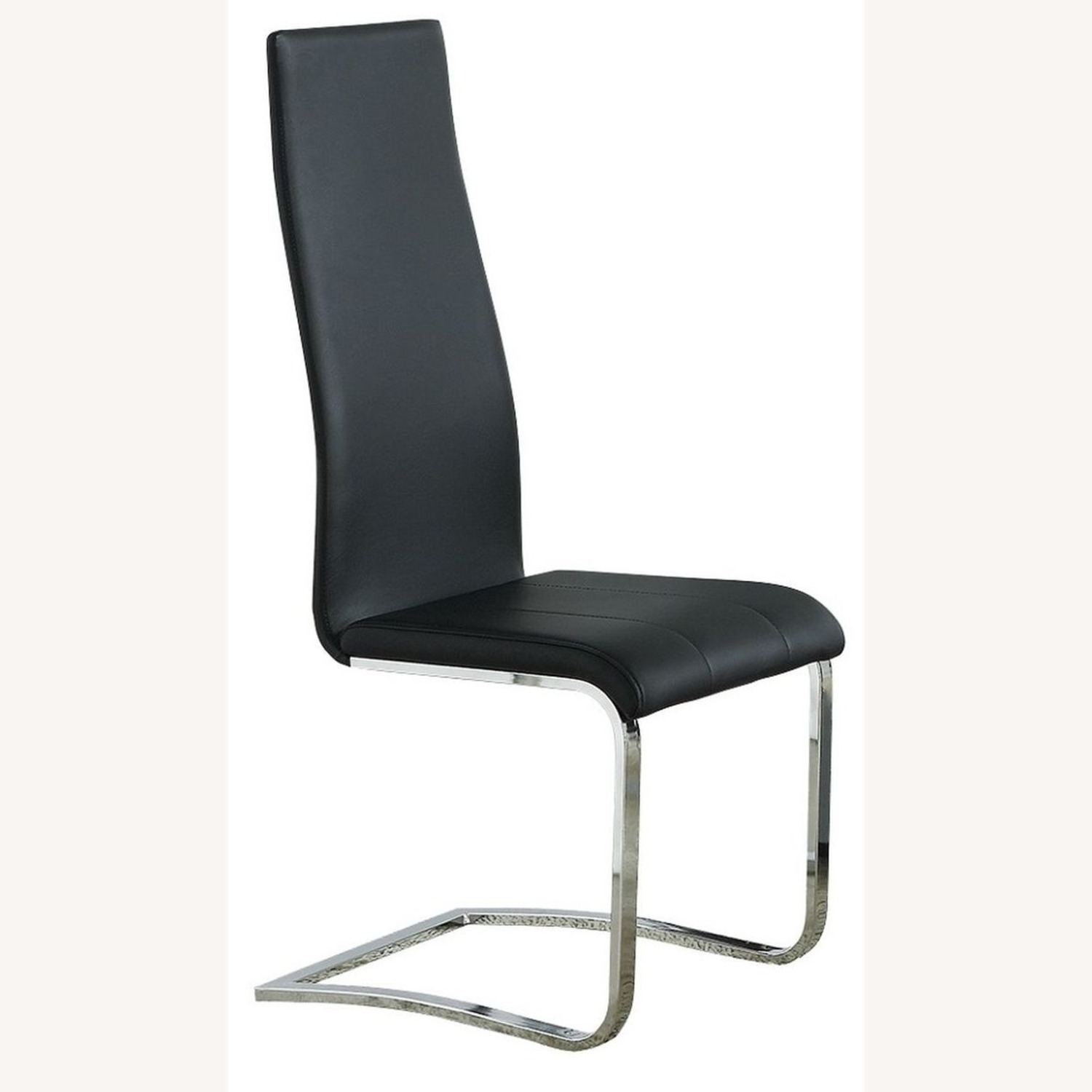 Iconic Breuer Style Side Chair In Black Leather - image-0