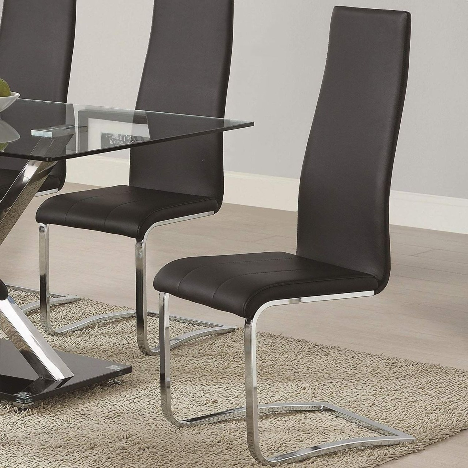 Iconic Breuer Style Side Chair In Black Leather - image-2