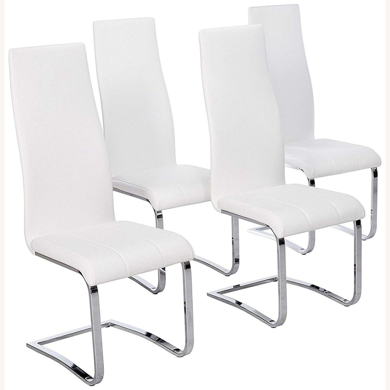 Iconic Breuer Style Side Chair In White Leather - image-1