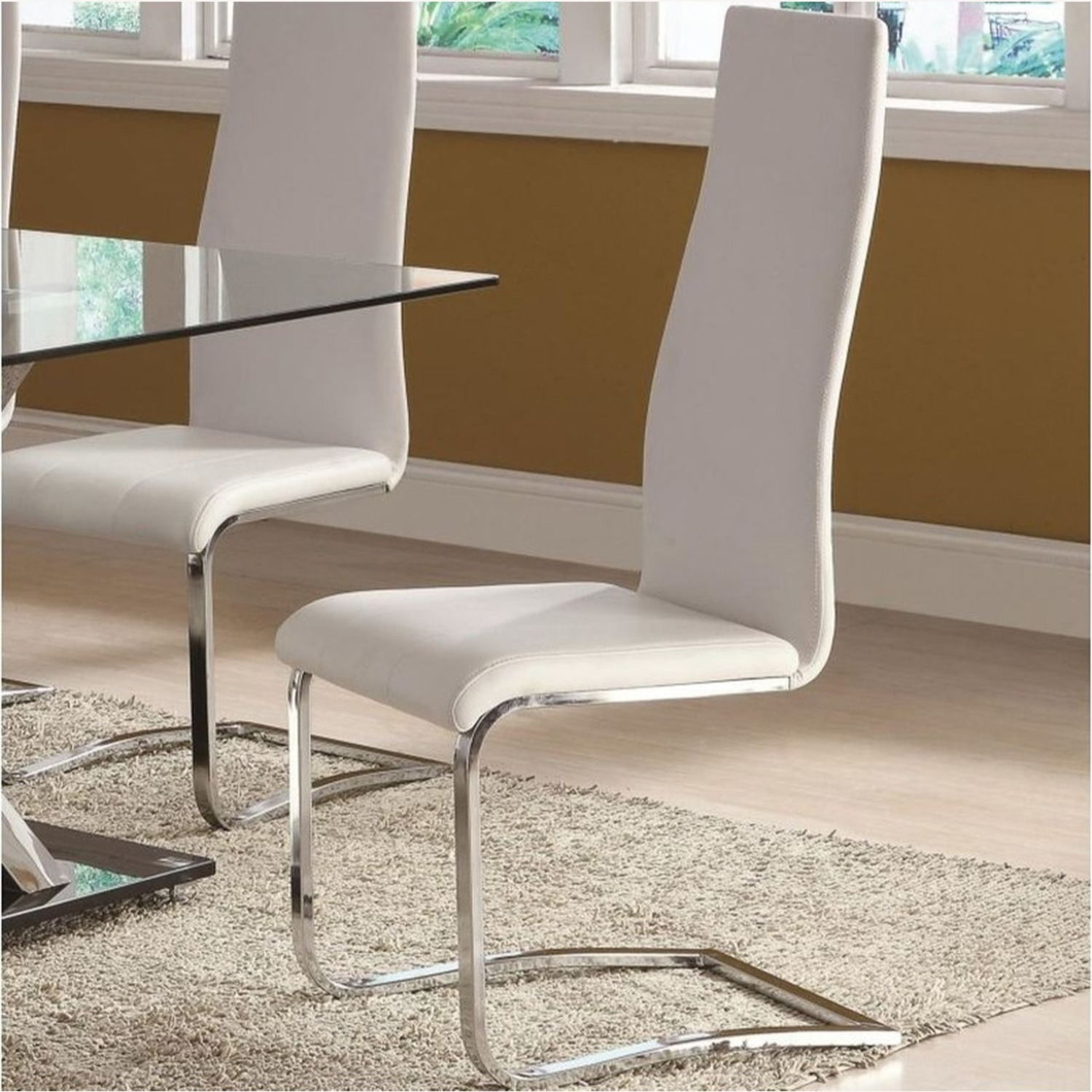 Iconic Breuer Style Side Chair In White Leather - image-2