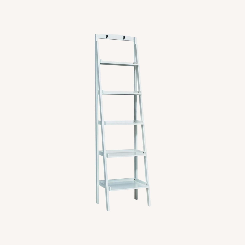 Ladder Bookcase In White Finish W/ 5-Tier Shelf - image-3