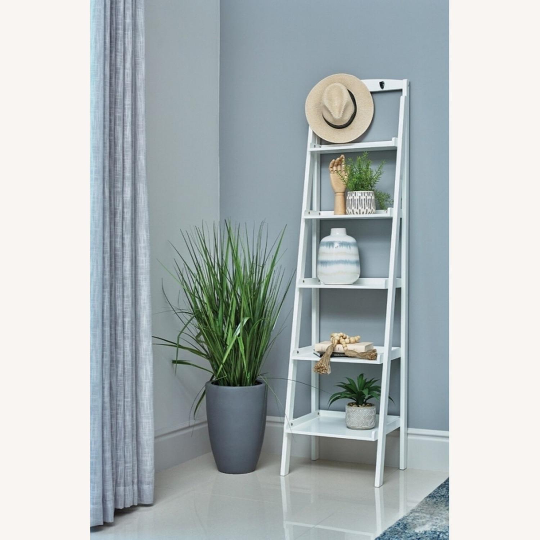 Ladder Bookcase In White Finish W/ 5-Tier Shelf - image-2
